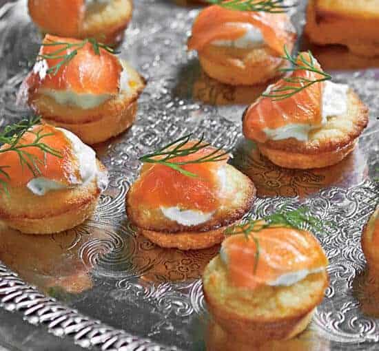 Mini Corn Cakes with Smoked Salmon